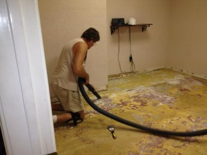 Jamie' dad helping to remodel a treatment room